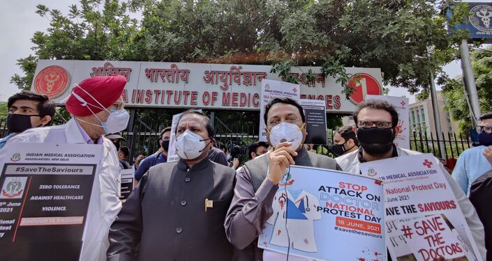 Dr. J A Jayalal, National President, IMA, Dr. G. S. Grewal, President, DMA, Dr. Ajay Gambhir, Secretary, DMA among others addressed the media during the protest in Delhi on Friday