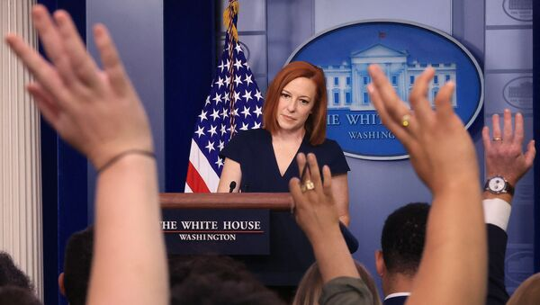 White House Press Secretary Jen Psaki takes quesitons from reporters during the daily news conference in the Brady Press Briefing Room at the White House on June 08, 2021 in Washington, DC. Psaki announced actions the Biden administration says it will take to strengthen critical American supply chains and promote economic security, national security, and good-paying, union jobs here at home. - Sputnik International