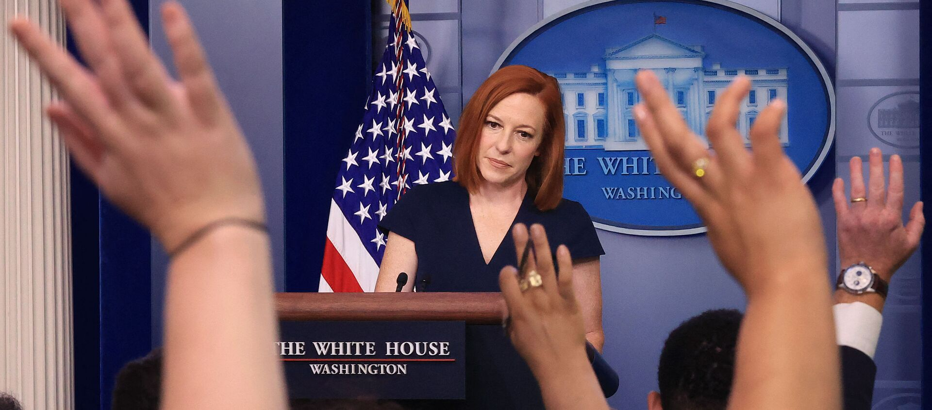 White House Press Secretary Jen Psaki takes questions from reporters during the daily news conference in the Brady Press Briefing Room at the White House on 8 June 2021 in Washington, DC. Psaki announced actions the Biden administration says it will take to strengthen critical American supply chains and promote economic security, national security, and good-paying, union jobs here at home. - Sputnik International, 1920, 05.08.2021