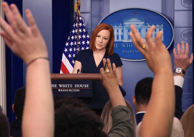 White House Press Secretary Jen Psaki takes quesitons from reporters during the daily news conference in the Brady Press Briefing Room at the White House on June 08, 2021 in Washington, DC. Psaki announced actions the Biden administration says it will take to strengthen critical American supply chains and promote economic security, national security, and good-paying, union jobs here at home.