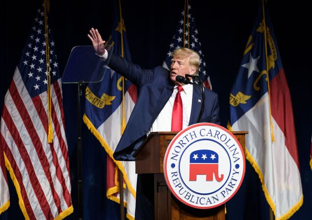 Former U.S. President Donald Trump addresses the NCGOP state convention on June 5, 2021 in Greenville, North Carolina. The event is one of former U.S. President Donald Trump's first high-profile public appearances since leaving the White House in January.