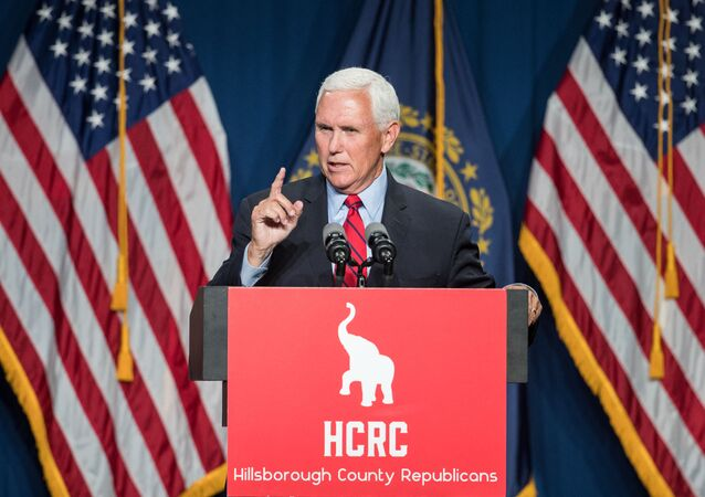 Former Vice President Mike Pence addresses the GOP Lincoln-Reagan Dinner on June 3, 2021 in Manchester, New Hampshire. Pence's visit to New Hampshire would be the first time back since he was Vice President.