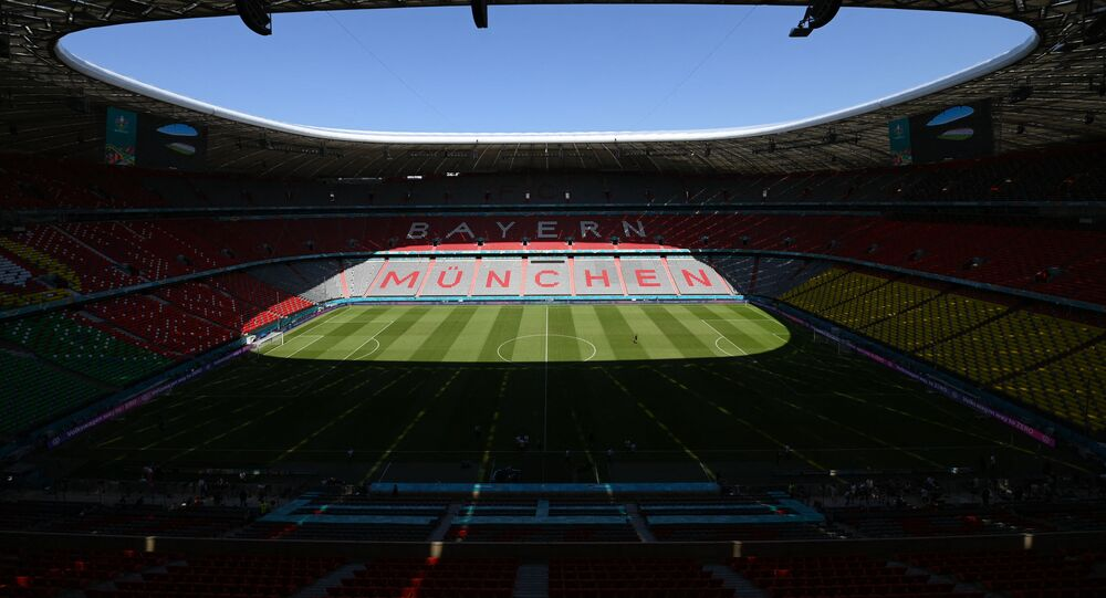 A picture shows the Allianz Arena in Munich on June 18, 2021 one of the venues of the UEFA EURO 2020 football competition.