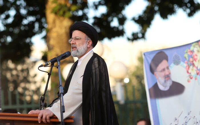 Presidential candidate Ebrahim Raisi speaks during a campaign rally in Tehran, Iran June 15, 2021. Majid Asgaripour/WANA (West Asia News Agency) via REUTERS