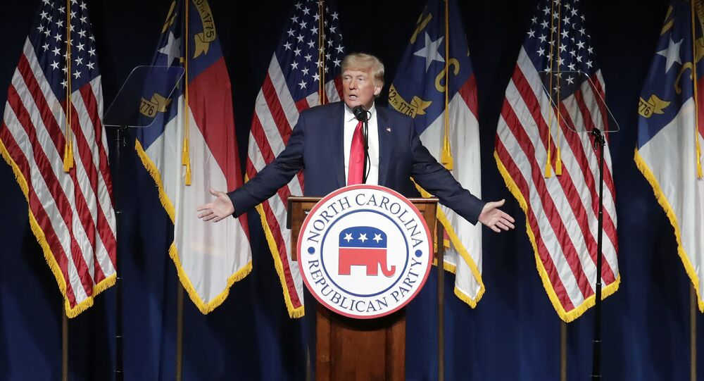 Former President Donald Trump speaks at the North Carolina Republican Convention Saturday, June 5, 2021, in Greenville, N.C.