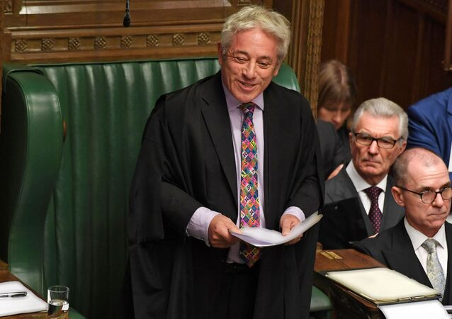 UK Parliament Speaker John Bercow smiling while speaking in the House of Commons in London on October 21, 2019