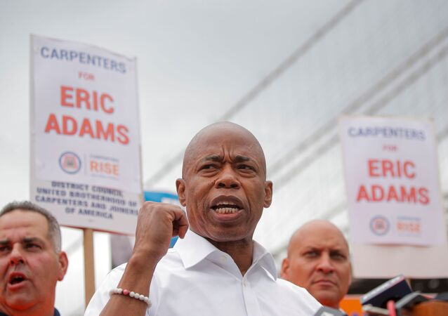 Eric Adams, Democratic candidate for New York City Mayor, speaks during a campaign appearance in Brooklyn, New York, U.S., June 11, 2021