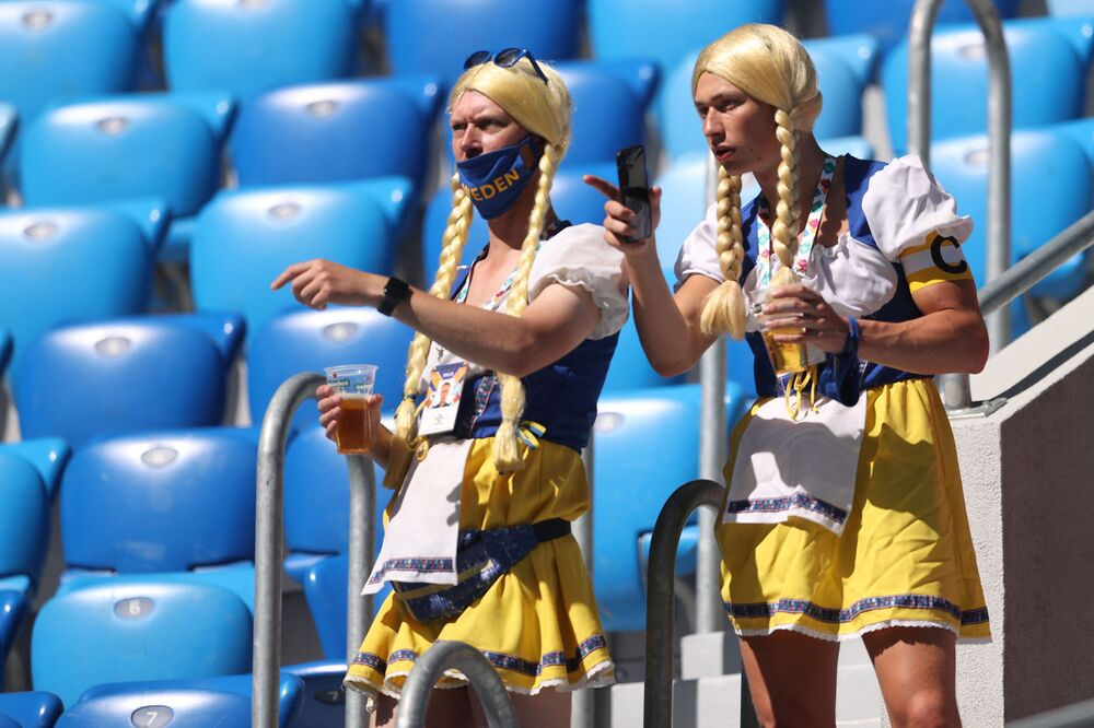 Sweden supporters attend a Group E match between Sweden and Slovakia at the Saint Petersburg Stadium in Saint Petersburg.