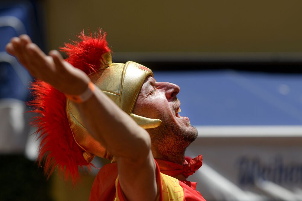 A North Macedonia fan chants ahead of a Group C match between Ukraine and North Macedonia.