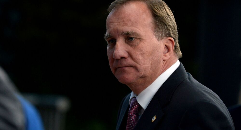 Swedish Prime Minister Stefan Lofven leaves a meeting at the EU summit, in Brussels, Belgium, July 21, 2020