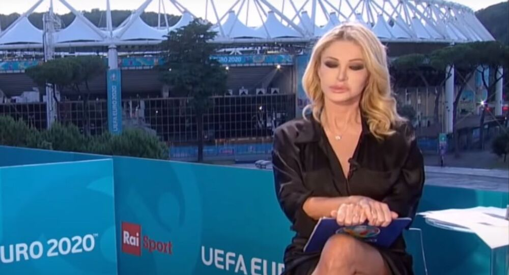 Italian TV host Paola Ferrari has denied claims she was not wearing underwear while hosting EURO 2020 television coverage as a clip of her switching legs during the show went viral.