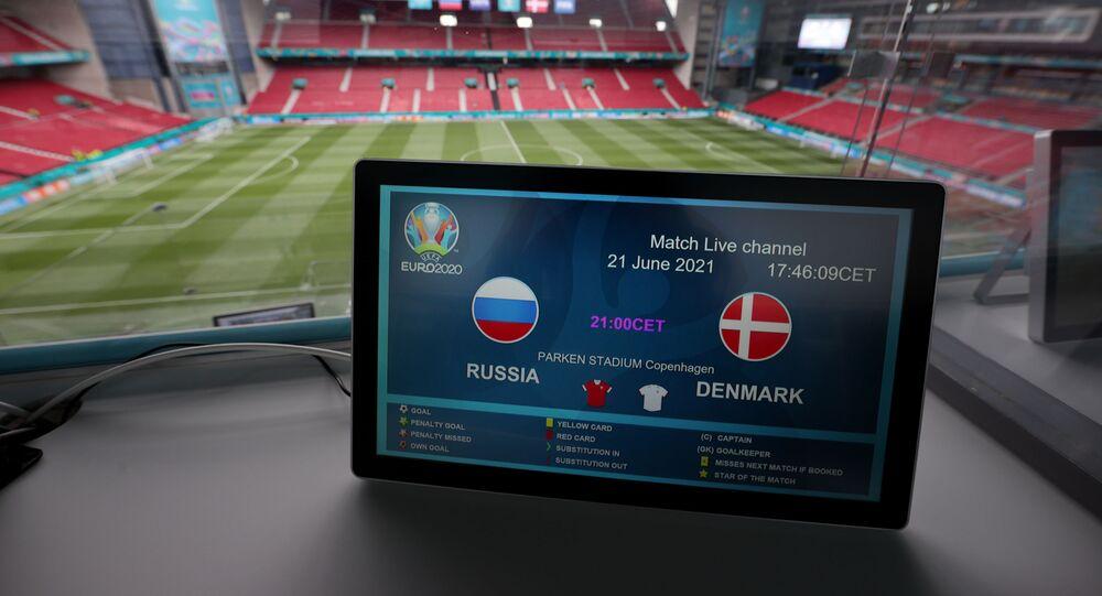 Soccer Football - Euro 2020 - Group B - Russia v Denmark - Parken Stadium, Copenhagen, Denmark - June 21, 2021 General view inside the stadium before the match