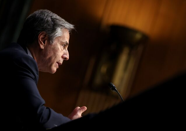 Secretary of State Antony Blinken testifies about the State Department budget before the Senate Appropriations Committee on Capitol Hill in Washington, U.S. June 8, 2021.