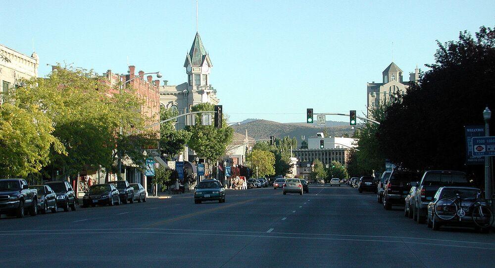 Main Street in downtown Baker City, Oregon, looking south near sundown.