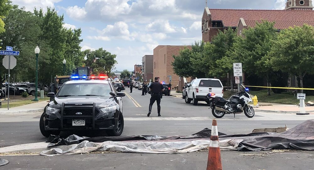 A photo from the scene of the shooting in Arvada, Colorado on June 21, 2021