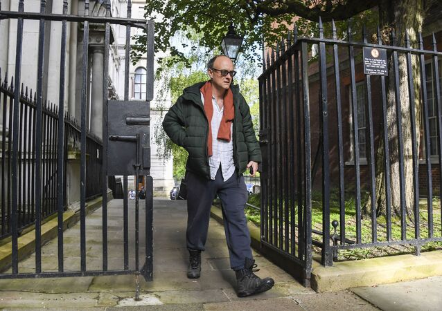 FILE - In this Friday, May 1, 2020 file photo, Britain's Prime Minister Boris Johnson's special adviser, Dominic Cummings arrives at 10 Downing Street, London.