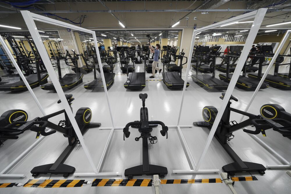 A gym in the Tokyo 2020 Olympic and Paralympic Village seen during the press tour.