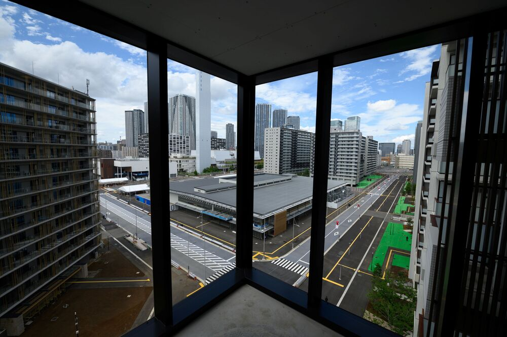 A picture of residential buildings for athletes taken during a media tour of the Olympic and Paralympic Village for the Tokyo 2020 Games.