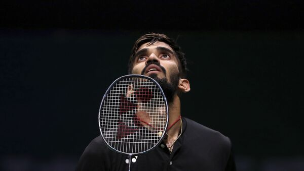 Srikanth Kidambi of India reacts while competing against Pablo Abian Vicen of Spain during the men's badminton singles match at the BWF World Championships in Nanjing, China on Wednesday, 1 August 2018. - Sputnik International