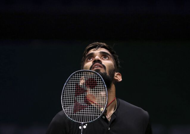 Srikanth Kidambi of India reacts while competing against Pablo Abian Vicen of Spain during the men's badminton singles match at the BWF World Championships in Nanjing, China on Wednesday, 1 August 2018.