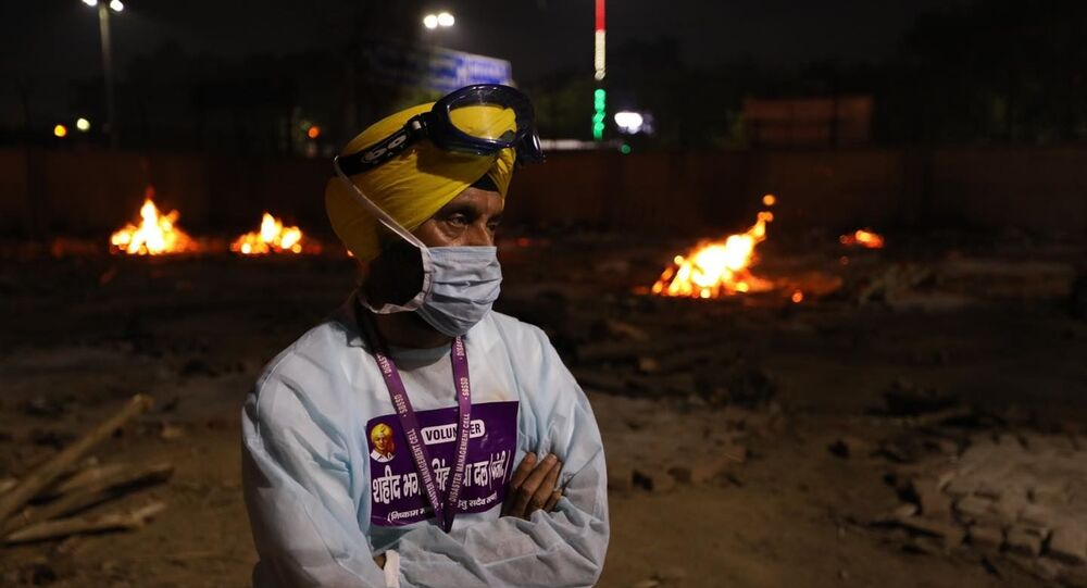 Jitender Singh Shunty at one of the crematoriums in Delhi