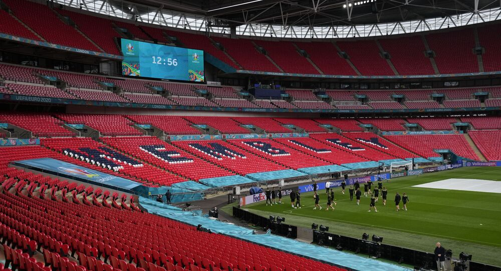The Czech Republic squad take part in a team training session at Wembley stadium in London, Monday, June 21, 2021, the day before the Euro 2020 soccer championship group D match between England and Czech Republic.