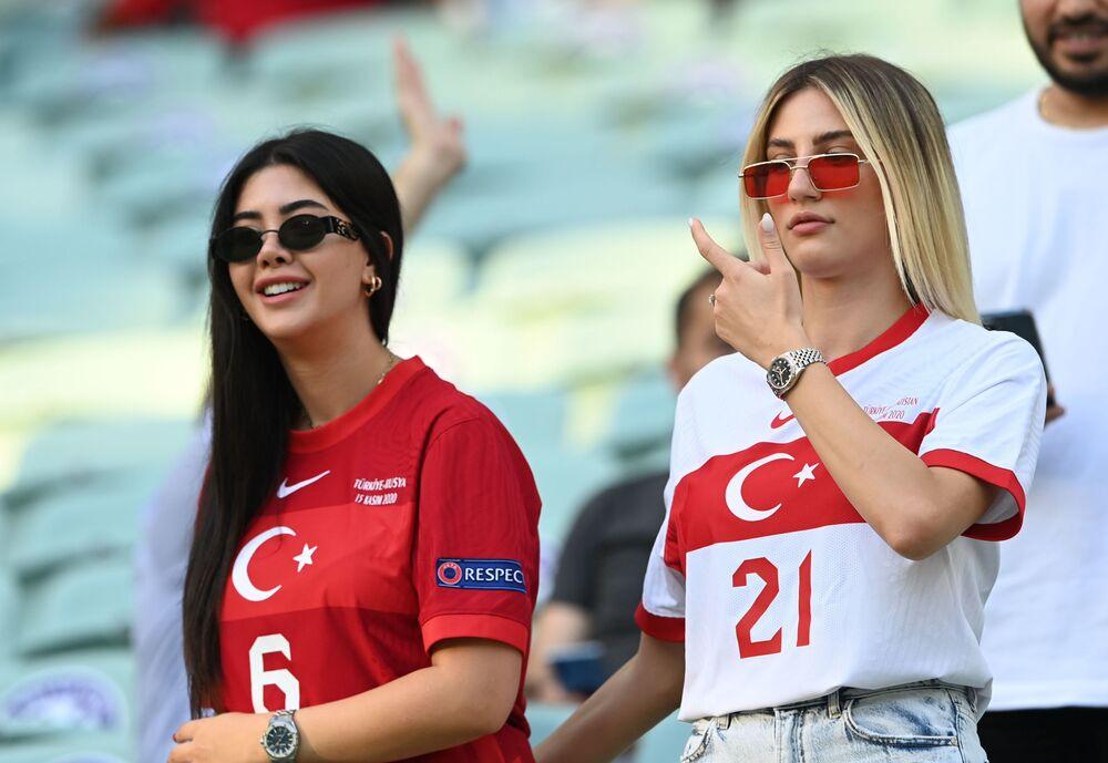 Turkey fans inside the stadium before the Turkey v Wales match which Wales won 2-0, at Baku Olympic Stadium, Azerbaijan on 16 June 2021.