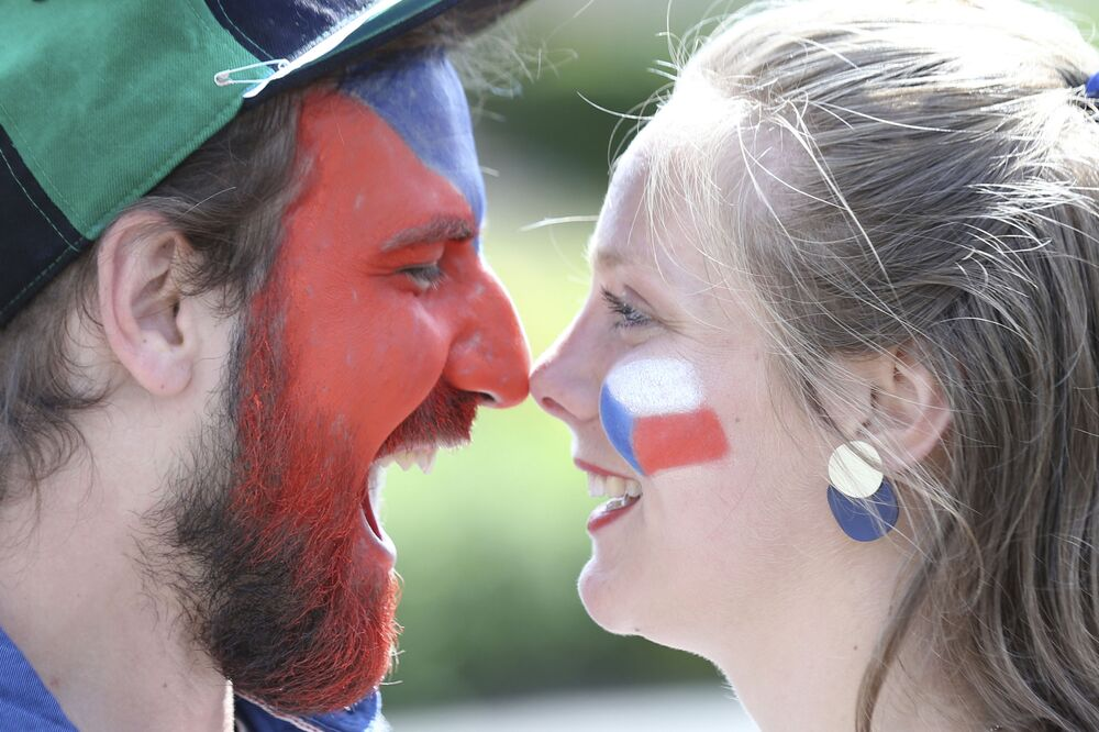 Czech Republic fans pose before the match between Croatia and the Czech Republic at the Hampden Park stadium in Glasgow, Scotland on 18 June 2021. The match ended in a 1-1 draw.