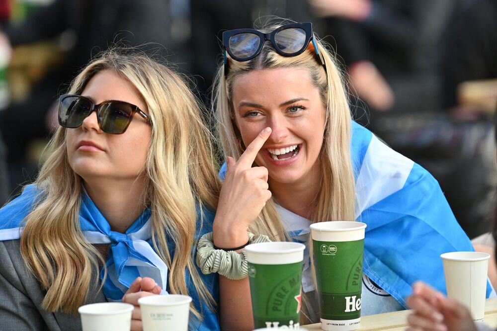 Scotland supporters laugh as they enjoy watching the match between England and Scotland at Wembley stadium in England on 18 June 2021. The match ended in a 0-0 draw.