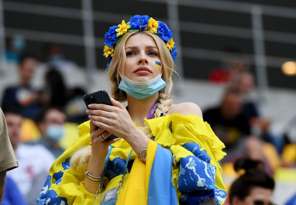 Ukraine fan before the match between her country and North Macedonia in the Arena Nationala, Bucharest, Romania on 17 June 2021. Ukraine won 2-1.