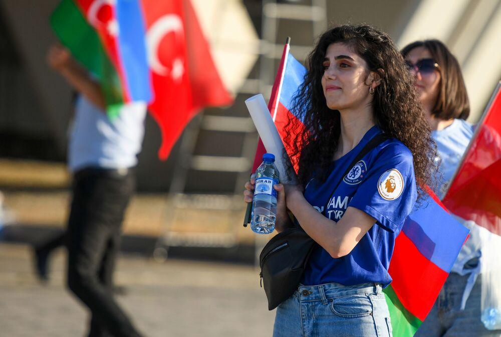 A Turkey fan before the Wales v Turkey match on 16 June 2021 at the Olympic stadium in Baku, Azerbaijan. Wales won 2-0.