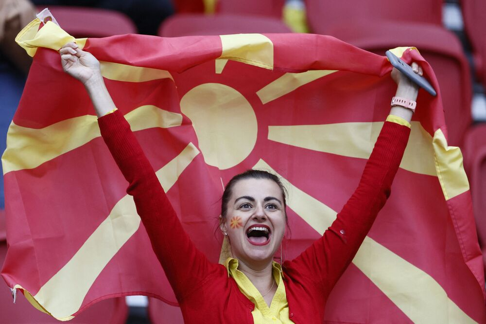 A North Macedonian fan cheers before match between North Macedonia and the Netherlands at Johan Cruyff Arena in Amsterdam on 21 June 2021. Netherlands wins 3-0.