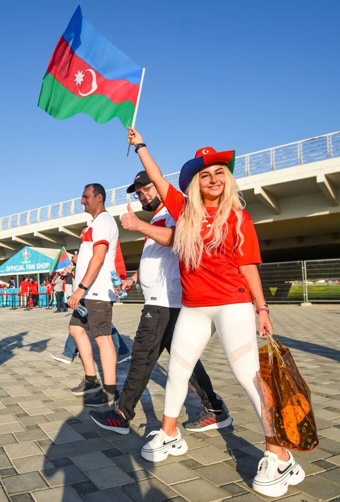 Turkish fans get hyped up before the Wales v Turkey match at the Olympic stadium in Baku, Azerbaijan on 16 June 2021. Wales wins 2-0.