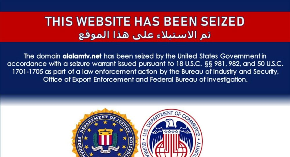 The website of Iran's Arabic language Al Kawtathar television is seen with a notice which appeared on a number of Iran-affiliated websites saying they had been seized by the United States government as part of law enforcement action, in a screenshot taken June 22, 2021.