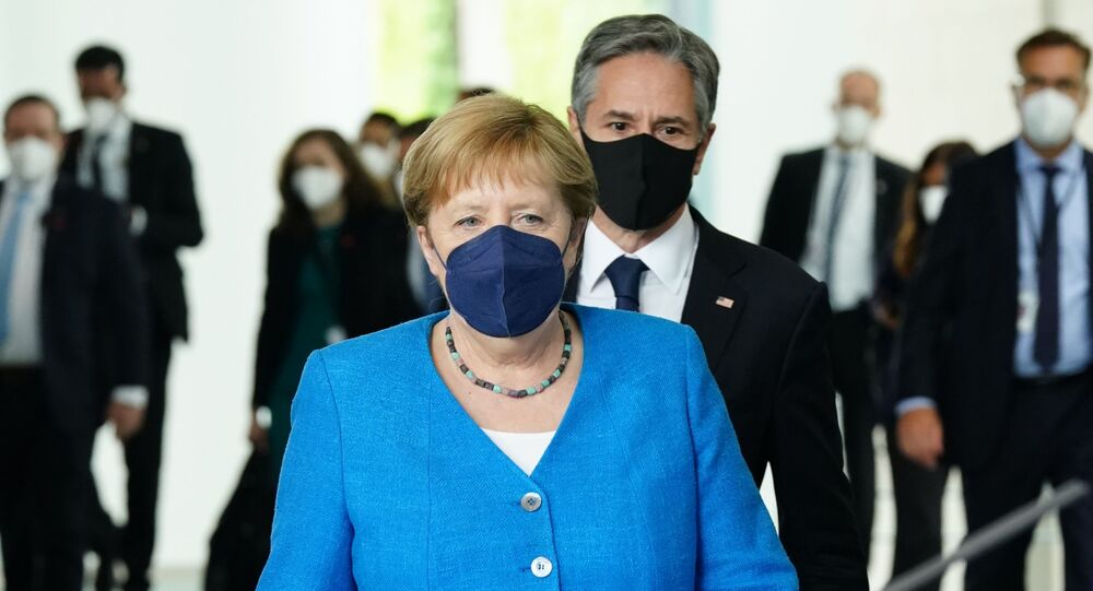 German Chancellor Angela Merkel and US Secretary of State Antony Blinken arrive for a joint press conference at the Chancellery in Berlin, Germany, Wednesday June 23, 2021.
