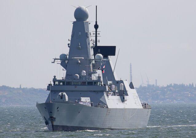 British Royal Navy's Type 45 destroyer HMS Defender arrives at the Black Sea port of Odessa, Ukraine June 18, 2021.