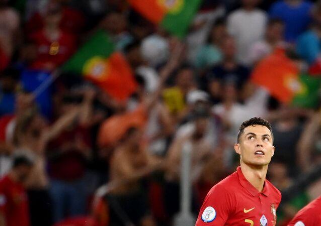 Portugal's Cristiano Ronaldo celebrates scoring their first goal