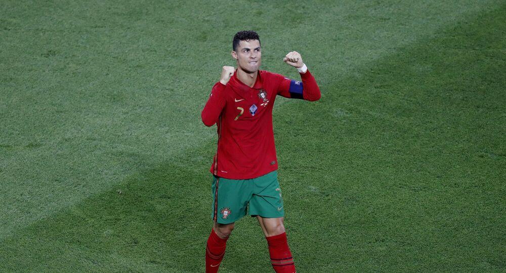 Soccer Football - Euro 2020 - Group F - Portugal v France - Puskas Arena, Budapest, Hungary on 23 June 2021, Portugal's Cristiano Ronaldo celebrates scoring their first goal