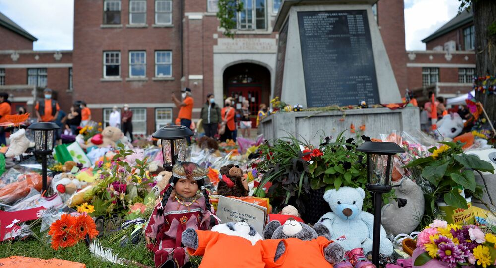 A memorial on the grounds of the former Kamloops Indian Residential School is seen in Kamloops, British Columbia, Canada, 5 June 2021