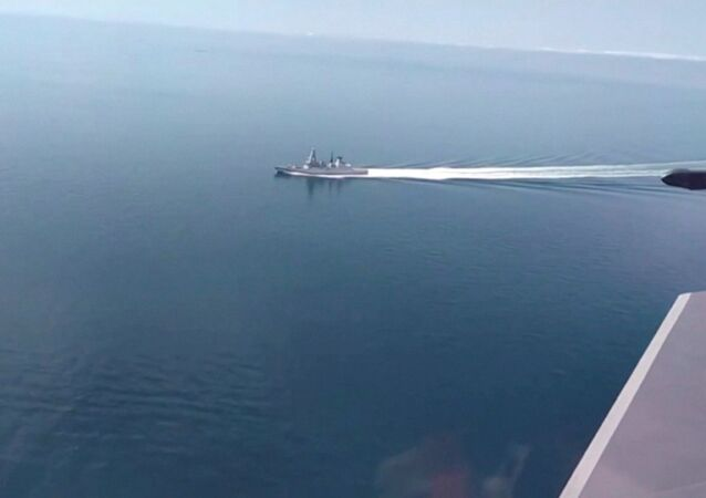 A still image taken from a video released by Russia's Defence Ministry allegedly shows British Royal Navy's Type 45 destroyer HMS Defender filmed from a Russian military aircraft in the Black Sea, June 23, 2021