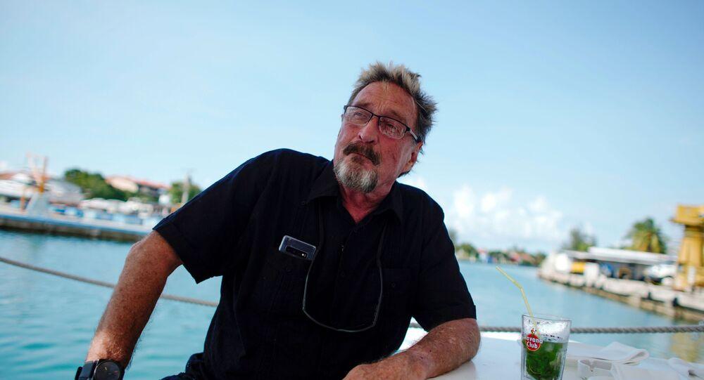 John McAfee, founder of McAfee Antivirus, speaks during an interview in Havana, Cuba in 2019