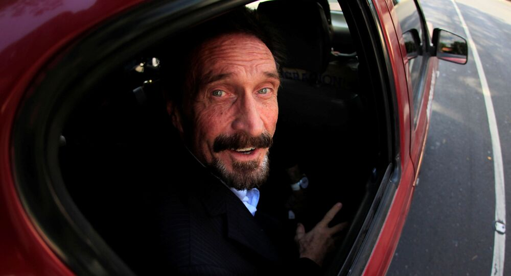 Software pioneer John McAfee is escorted by immigration officers to the Guatemalan Airport in Guatemala City December 12, 2012