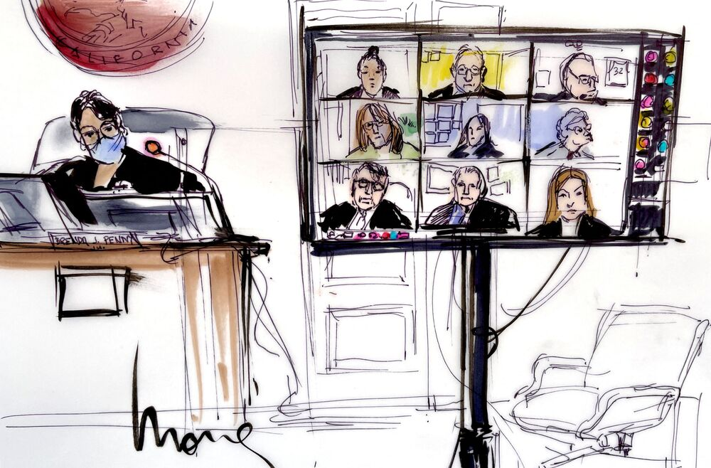 This courtroom sketch shows Judge Brenda J. Penny presiding over participants, virtually appearing on a screen, during the hearing of Britney Spears' guardianship case in the Los Angeles County Courthouse.