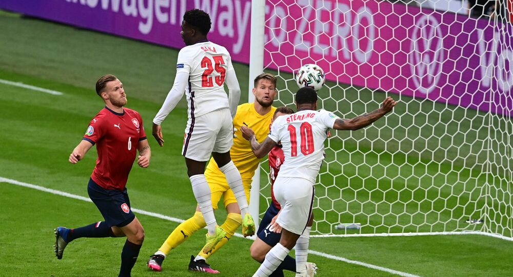 Raheem Sterling heads the winning goal for England against the Czech Republic
