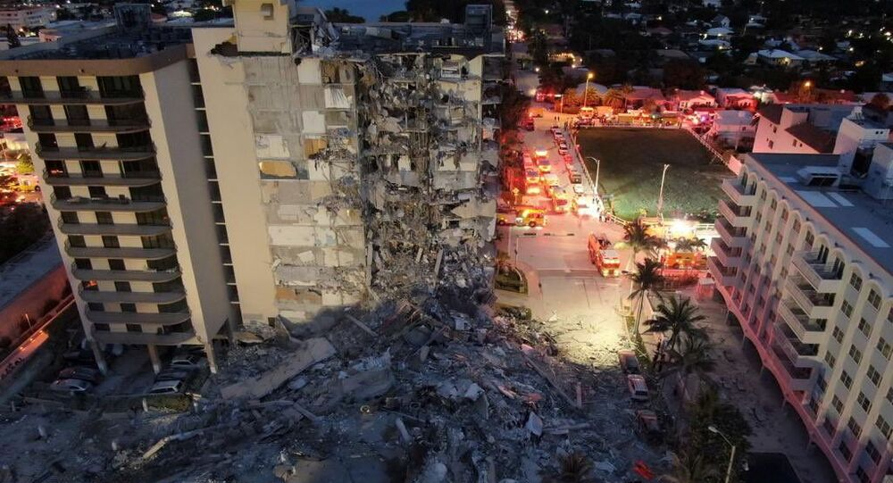 A building that partially collapsed is seen in Miami Beach, Florida, U.S., June 24, 2021. Miami-Dade Fire Rescue/Handout via REUTERS  THIS IMAGE HAS BEEN SUPPLIED BY A THIRD PARTY.