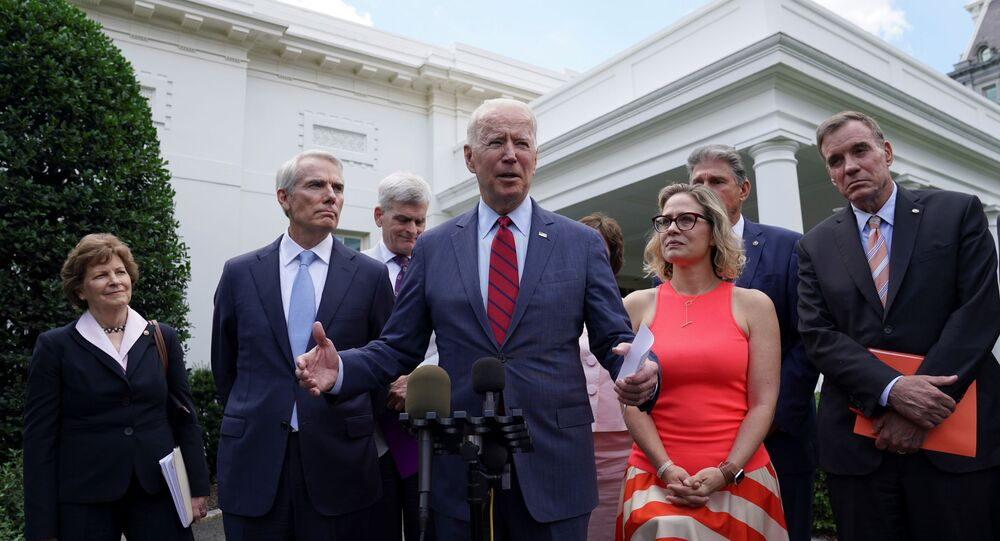U.S. President Joe Biden speaks following a bipartisan meeting with U.S. senators about the proposed framework for the infrastructure bill, at the White House in Washington, U.S., June 24, 2021.