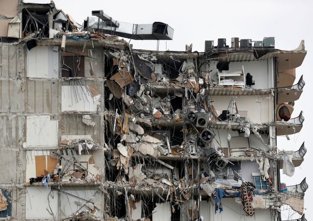 A building that partially collapsed is seen in Surfside, near Miami Beach, Florida, U.S., June 24, 2021.