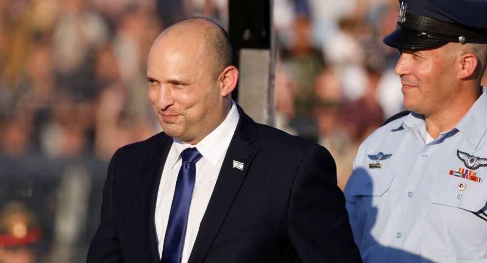 Israeli Prime Minister Naftali Bennett attends the Israeli Air Force pilots' graduation ceremony at Hatzerim air base in southern Israel June 24, 2021