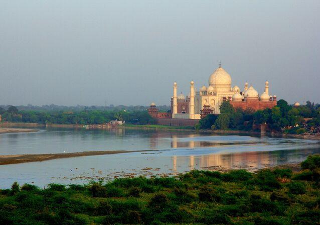 Taj Mahal on the banks of the Yamuna River