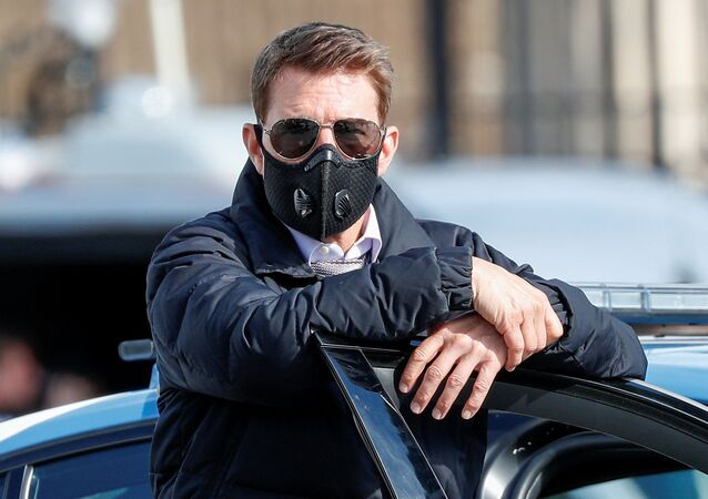 Actor Tom Cruise is seen on the set of Mission Impossible 7 while filming in Rome, Italy October 13, 2020.